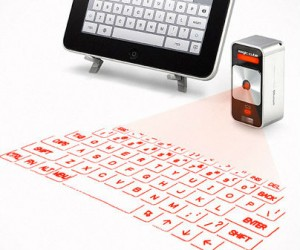 The future has arrived. The virtual keyboard for iphone and ipad features Projects a full-size laser keyboard onto any flat surface