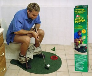 What better way to spend time on the pot than practicing your putt in a game of bathroom mini golf.