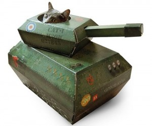 Your cat will have a blast (not literally) pretending to be a World War II tank commander with the adorable yet deadly Kitty Tank Playhouse