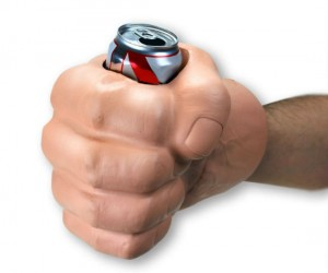 Impress your friends with the giant fist drink koozie. Too bad it's not green though.