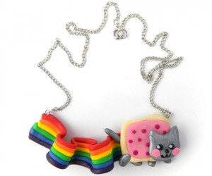 Nyan Cat the lovable rainbow toaster cat now available in exquisite necklace form.