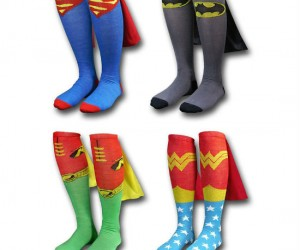Superhero Cape Socks – Don't have a cape lying around the house?  Then these caped superhero socks are the next best thing!