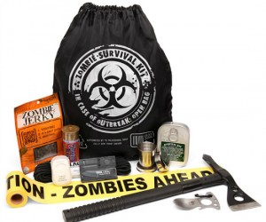 You can never be too prepared for the upcoming zombie apocolypse. It includes everything you will need to stave off the pesky undead.