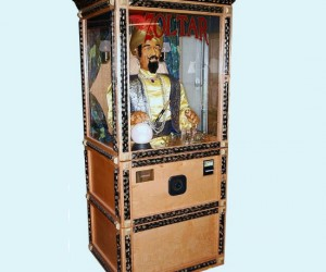 "Make a ""big"" impression with this classic novelty arcade machine. Just feed it quarters and the animatronic fotune teller will give your fortune."