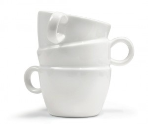 Stacked Ceramic Mug – Your roomate might just think you were too lazy to put away the dishes when he sees you with this on the coffee table.