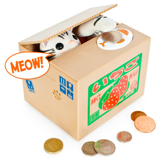 Kitty coin bank shut up and take my money - Coin stealing cat piggy bank ...