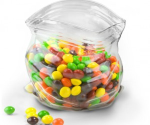 A glass bowl designed to look like a ziplock bag – A ghetto fabulous way to display and serve your favorite treat.