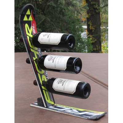 recycled ski wine rack 2