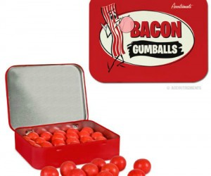 Bacon Flavored Gumballs- Now you can chew on the best flavor of all time, bacon, all day long. also comes in pickle, cupcake, and popcorn with cola flavors.