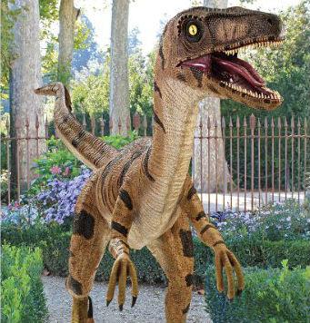 realistic velociraptor statue