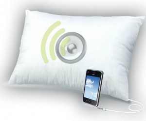 Sound Asleep Pillow – Let's just hope you have something on your iPod soft enough to fall asleep too.