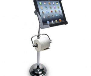 iPad toilet paper stand – Looks like the iPad has officially taken the place of magazines while sitting on the toilet.