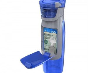 Water bottle with storage compartment perfect for the gym or an outdoor run!