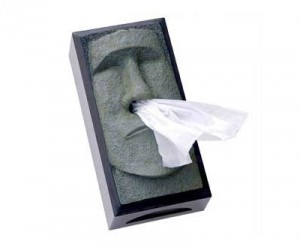 Tiki Tissue Dispenser – Wipe your nose with something that comes out of a nose, seems legit.