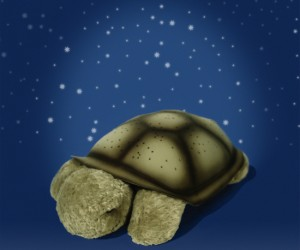 There's no need to be afraid of the dark, twilight turtle can give you sweet dreams of turtles flying through space.