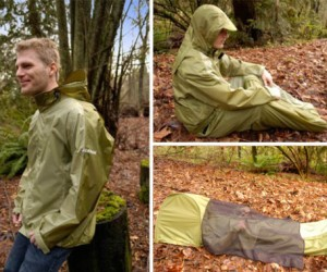 Now when you go hiking, your sleeping bag and tent don't take up any more room than the jacket on your back!