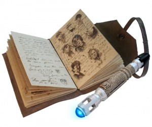 A replica of the Doctor Who impossible things journal with some blank pages to write down your own impossible things using a sonic screwdriver replica pen!