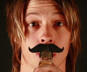 Beer Bottle Mustache – As if drinking beer doesn't make you manly enough, now it gives you a mustache too!