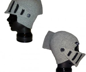 "Crochet Knight Helmet Beanie – How does the saying go? ""Every woman wants a knight in knitted armor."""