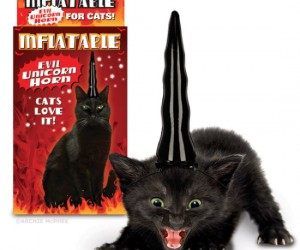 Don't think your cat is sweet enough to pull off the inflatable unicorn horn for cats? Don't worry, there's an alternative for the more hell raising type of cat.