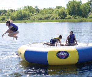 Can you think of a better way of spending a summer day than hanging out on a floating trampoline in the middle of a lake? No, the answer is no.