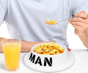 A bowl made for a man, literally! Perfect to eat out of when your wife puts you in the dog house.