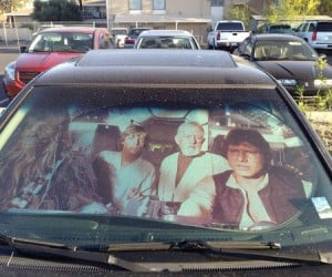 Millenium Falcon Sunshade – Now you can imagine your 94′ Honda Civic is barreling through space at warp speed.
