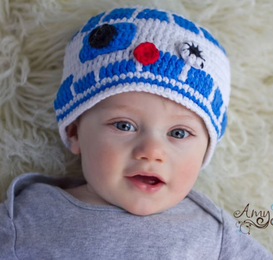 r2d2 knit baby beanie