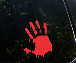 Bloody Zombie Hand Car Decal – Now you'll have proof that you survived a zombie apocalypse…
