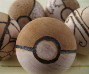 Custom Wood Burned Pokeballs – Just make sure you don't hold any fire types inside