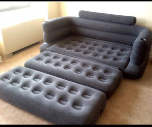Inflatable Fold Out Couch  – This comfortable couch easily folds out into an equally comfortable queen bed.