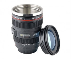 Take your shots on the go with the camera lens travel mug!