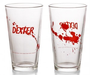 Dexter Pint Glass Set of 4 – Goes great with blood splattered coasters.