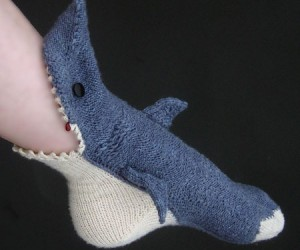 Crocheted Shark Socks – These beautifully handmade socks will make it look as if your foot is being eaten off by a shark.