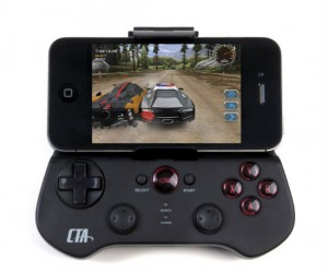 This stylish bluetooth gaming controller works on any iPhone, iPad, or Android device.