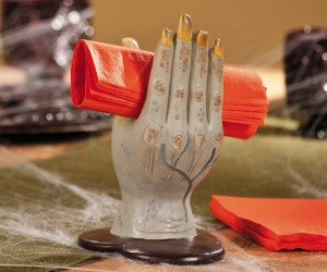 Zombie Hand Napkin Holder – Turns out zombie hands make the perfect napkin holder.