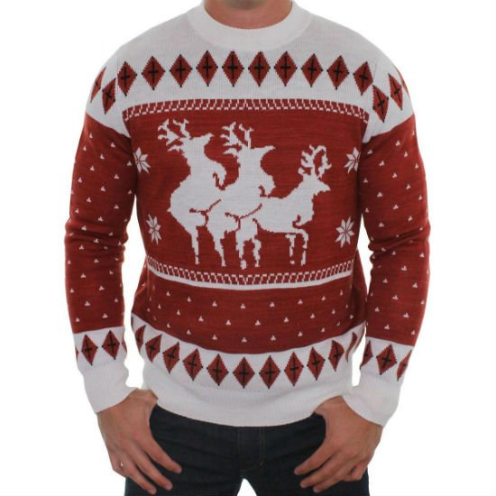 Reindeer Menage A Trois Ugly Christmas Sweater   Nothing says ugly Christmas sweater like a reindeer threesome