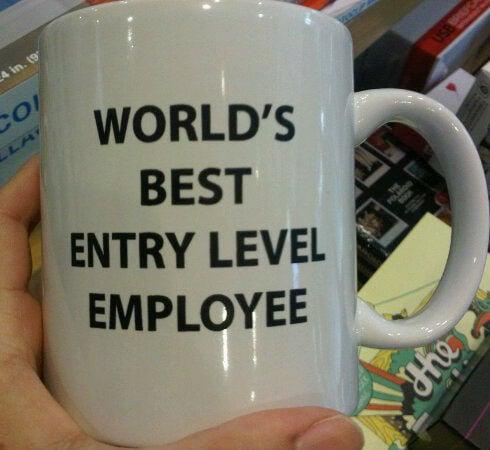 worlds best entry level employee mug