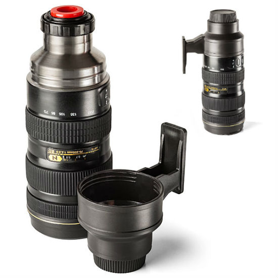 camera lens stainless steel thermos