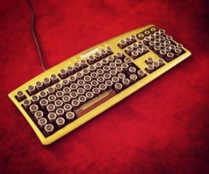 This fine handcrafted Bioshock art deco steampunk keyboard looks almost too pretty to use.