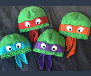 Hand Knit Ninja Turtles Beanies – Probably the closes you can get to looking like a real Ninja Turtle without having to deal with that radioactive ooze.