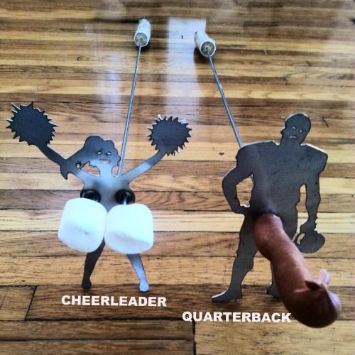naughty cheerleader and quarterback roasting sticks