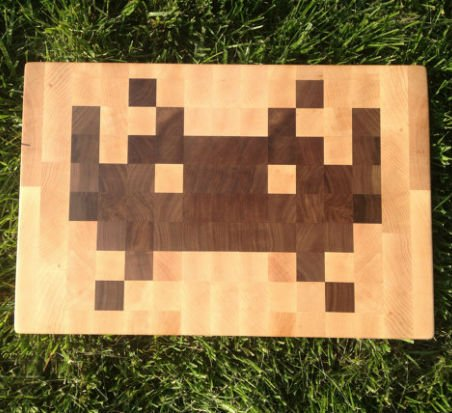 space invaders cutting board