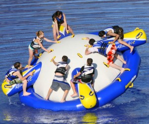 Ever wonder what it would be like to ride a mechanical bull in the water with 7 other people?