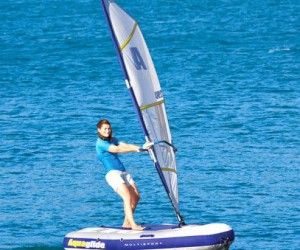 Inflatable Sailboat – The Aquaglide can be easily converted from a sailboat, to a kayak, to a raft. And with it's compact storage size transporting it is a breeze.