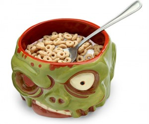 Zombie Head Bowl - Not surprisingly the hollowness of a zombie's head makes for the perfect bowl!