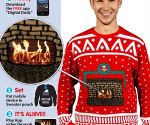 You will be sure to win any ugly Christmas sweater contest with an actual animated fireplace on the front!