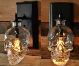 Made from a recycled Crystal Head Vodka bottle, this wall sconce is bound to give your house guests a fright!