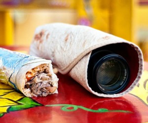 Looks yummy enough to eat, however, I wouldn't recommend biting into this burrito.