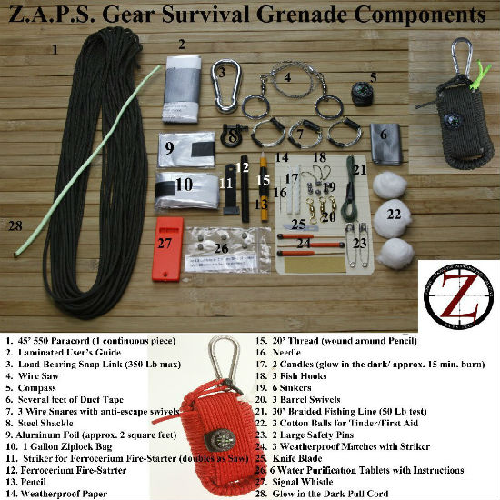 survival grenade contents